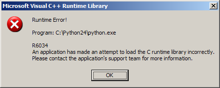 R6034 An application has made an attempt to load the C runtime library incorrectly. Please contact the application's support team for more information