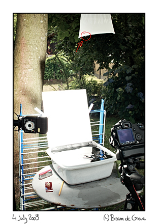 setup of water drop studio (c) 2009 Bram de Greve